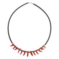 Women's Red Coral Necklace with Silver CR043