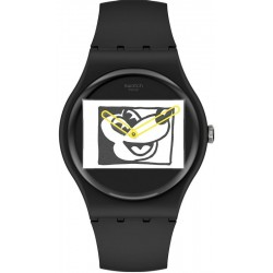 Swatch Mickey Mouse Watch Mickey Blanc Sur Noir SUOZ337