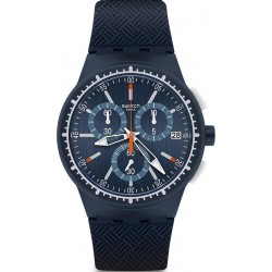 Buy Men's Swatch Watch Chrono Plastic Gara In Blu SUSN410 Chronograph