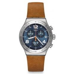 Men's Swatch Watch Irony Chrono Cognac Wrist YVS470 Chronograph