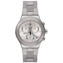 Unisex Swatch Watch Irony Chrono Silver Explosion YVS472G Chronograph